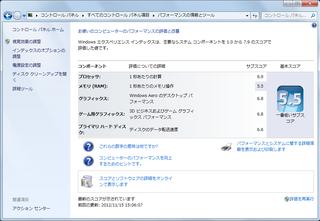 ParallelsでのWindows 7スコア