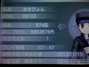 ポケモンのプレイが321時間